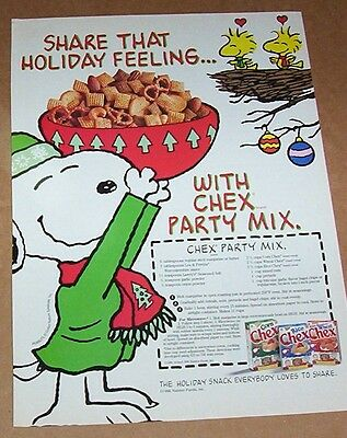 1996 print ad - Chex cereal Party Mix Recipe SNOOPY Woodstock Christmas Ralston