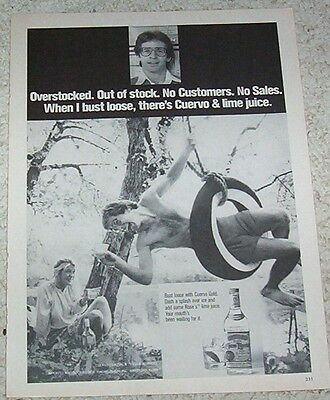 1980 ad page -Jose Cuervo Gold Especial Tequila - girl & guy tire swing PRINT AD