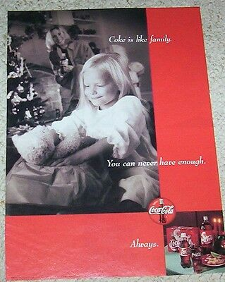 1999 ad page - COKE Coca-Cola soda pop little girl Christmas family PRINT ADVERT