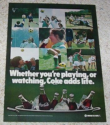 1979 ad page -COKE Coca-Cola soda pop - boys girls SOCCER is a Kick - PRINT AD