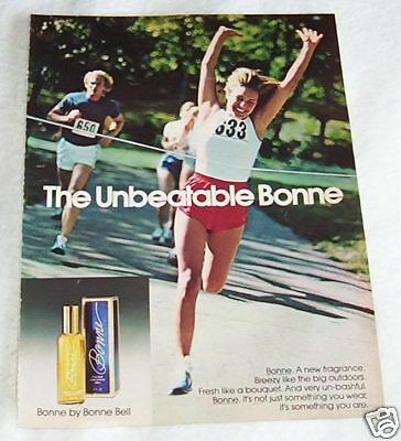 1977 ad page - Bonne Bell cologne sexy Girl runner vintage advertising ADVERT