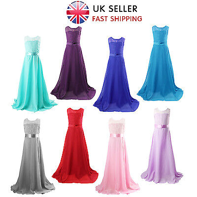 Girls Flower Lace Bridesmaid Party Princess Prom Wedding Christening Long Dress