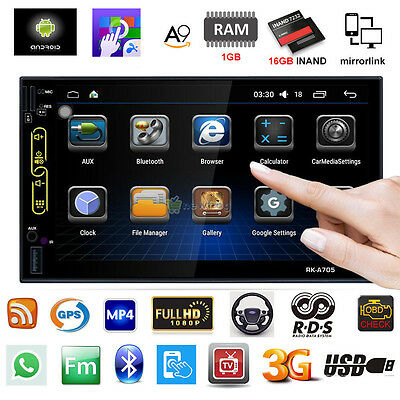 """7"""" HD Android 6.0 2Din Car Stereo GPS Wifi 4G Radio OBD RDS/AM/FM MP3 MP5 Player"""