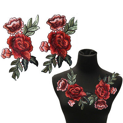 2Pcs/Set Rose Flower Patch Floral Embroidered Applique Patches Sew on For DIY UK