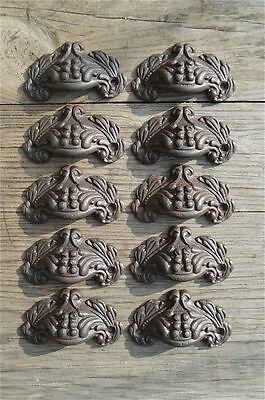A set of 10 small Victorian acanthus cast iron drawer pull furniture handles AL8