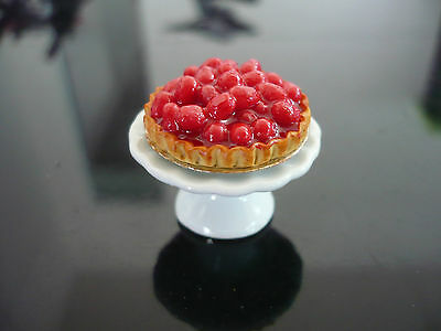 Cherry Pie on Stand Bakery Dollhouse Miniatures Food