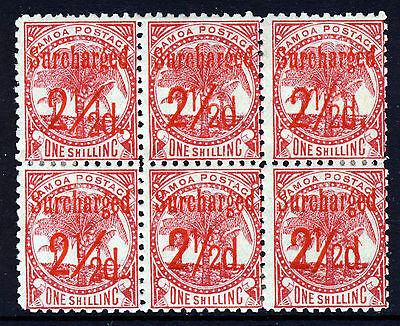 SAMOA 1899 Surcharged 2½d. IN RED on 1s. Rose P11 BLOCK OF SIX SG 85 MINT