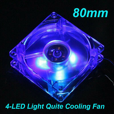 80x80x25mm Blue Quad 4LED Light Quite Cooling Fan Clear 12V 4Pin for PC Computer