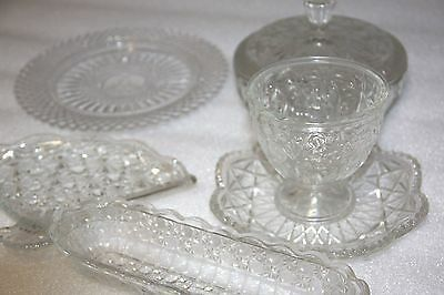 Collectible vintage glass x 6 items Avon glass fan  glass trinket + more bulk /E