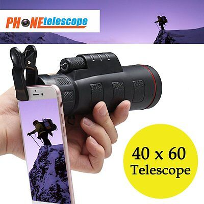 Potable 40x60 HD Clip-on Optical Zoom Telescope Camera Lens For iPhone Android