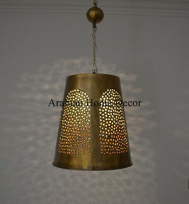 Middle Eastern Moroccan Oxidize Gold Brass Hanging Lamp Lantern Light