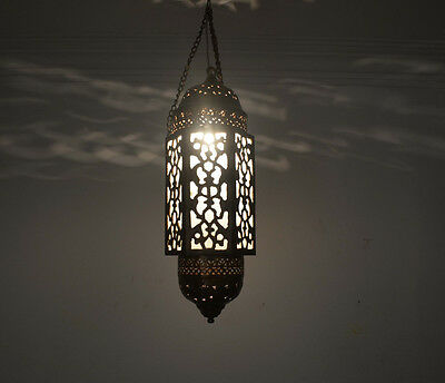 """Handcrafted 20"""" Height Moroccan Middle Eastern Brass Hanging Lantern Lamp"""