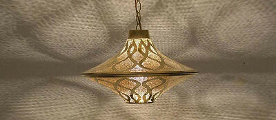 Handcrafted Moroccan Middle Eastern Gold Brass Hanging Lantern Lamp