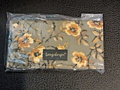 Longaberger KHAKI FLORAL CHECKBOOK Cover NWT