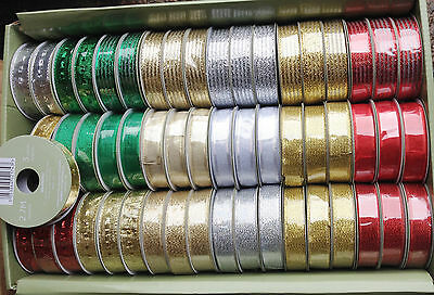 4 x Rolls Sparkly metallic finish Christmas fabric ribbon silver gold green red
