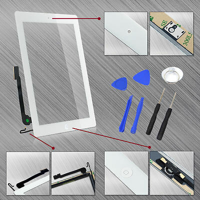 Touch Screen Digitizer+Home Button+Tempered Glass Replacement for iPad 4 4th Gen