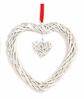 1 x Hanging Heart Decorations Large White willow wood - shabby chic decoration