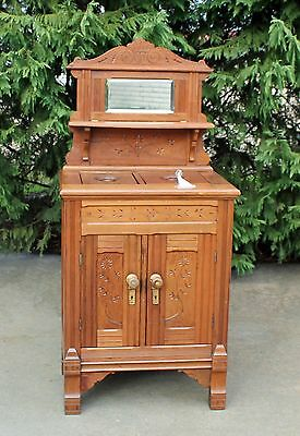 HTF Victorian Walnut Spoon Carved Parlor Icebox wSpigot & Hardware Dated 1886