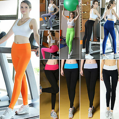 Womens Yoga Fitness Leggings Running Gym Sports Cotton High Waist Pants Trousers