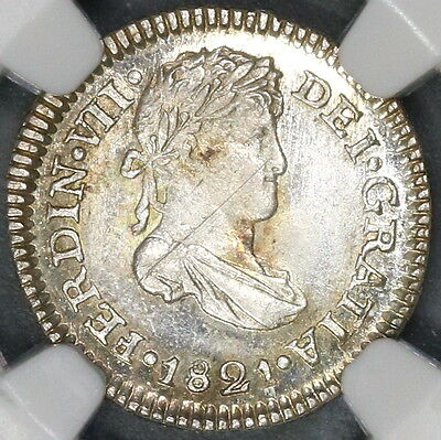 1820 NGC MS 64 GUATEMALA Silver 1/2 Real Spain Colony Coin (17043003C)