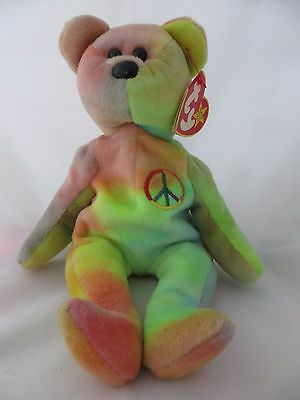 Ty Beanie Baby Peace Tie-Dyed 5th Generation Swing Tag Retired Plush 1998  04053 69b799ad7c20