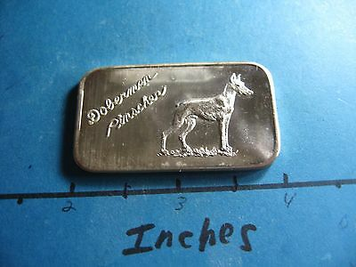 Doberman Pinscher Dog 1973 Justice Mint Rare 999 Silver Bar Cool For Dog Lover