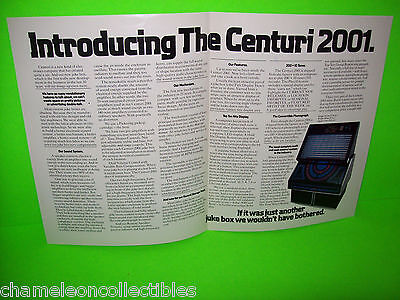 2001 By CENTURI 1981 ORIGINAL JUKEBOX  PHONOGRAPH PROMOTIONAL FLYER BROCHURE
