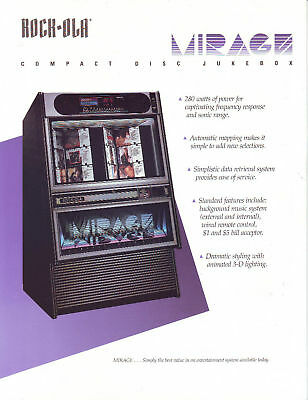 Rock-Ola Mirage Cd Jukebox Sales Flyer Brochure 1990