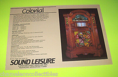 COLONIAL By SOUND LEISURE ORIGINAL JUKEBOX PHONOGRAPH SALES FLYER BROCHURE