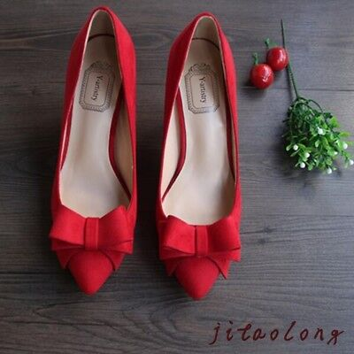 Chinese Wedding Red Shoes Womens Lady Stilettos Heels Bow Party Prom Pumps Shoes