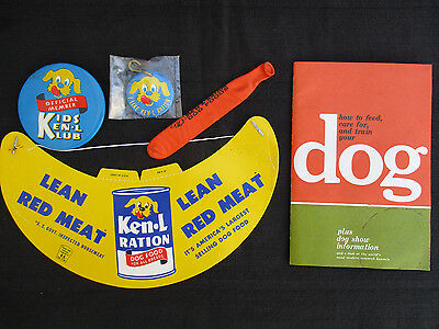 VINTAGE 1960s KEN-L RATION PET FOOD TIN DOG TAG, BUTTON, VISOR, BOOK & BALLOON