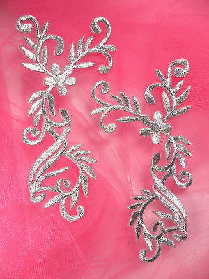 """GB142 Embroidered Applique Mirror Pair Silver Metallic Iron On Patch 4"""""""