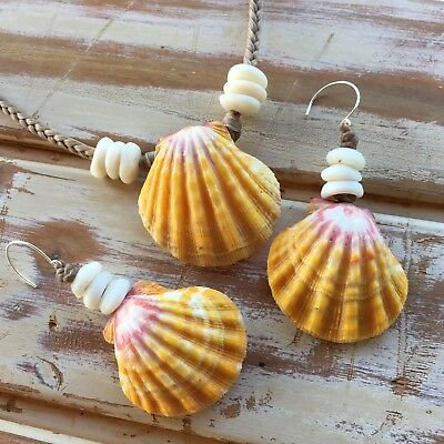 Bright classic Hawaiian sunrise shell necklace and earring set
