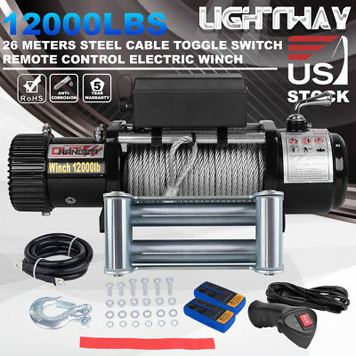 OUT RANGER 12V 12000LBS Electric Winch Towing Steel Cable Offroad Truck Trailer