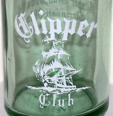 Vintage soda pop bottle CLIPPER CLUB large ship pic 12oz 1946 Cincinnati Ohio