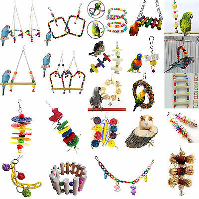 Pet Parrot Birds Wood Beads Rope String Stand Perch Cage Hang Ladder Chew Toy CH