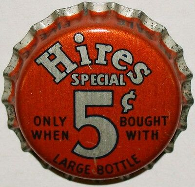 Vintage soda pop bottle cap HIRES SPECIAL large 5 cents cork new old stock exc+