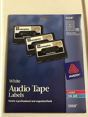 300 Avery 5068 White Audio Tape Inkjet/ Laser Labels Discontinued 25 sheets