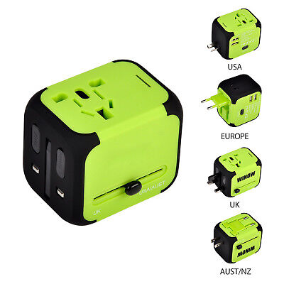 Universal Travel Adapter AU/UK/US/EU Power Convert Wall Charger with Dual USB