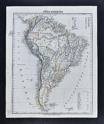 1847 Flemming Map  South America  Brazil Argentina Peru Colombia Patagonia Chile