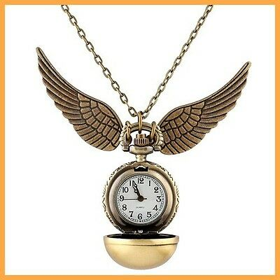 Harry Potter Snitch Watch Necklace Steampunk Quidditch Pocket Clock Pendant TB