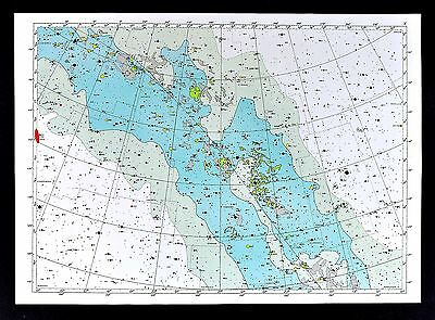 1950 Star Map Chart - Lacerta Cygnus Vulpecula Constellations Milky Way Universe