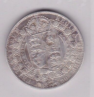 1890 Victorian Jubilee Head Half Crown In A Used Good Fine Condition