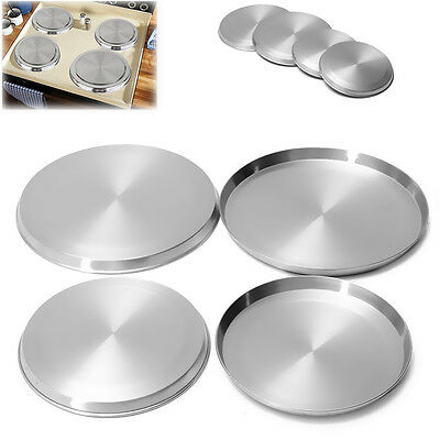 Stainless Steel Kitchen Stove Top Covers Burner Round Cooker Protectors 4Pcs/Set