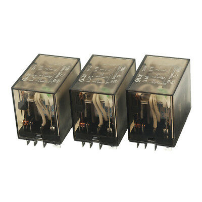 3pcs dc 12v coil 4pdt 4no 4nc 14pin power electromagnetic relay din rail mounted