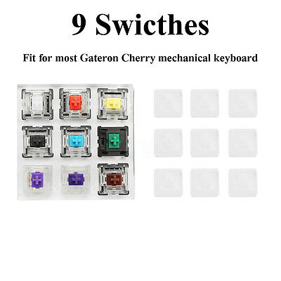 9 Clear Caps + 9 Keys Switch Tester Shaft for Gateron Cherry mechanical Keyboard