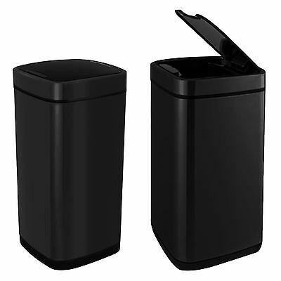 Square Black 40 Litre Kitchen Hands Free Motion Sensor Dustbin Automatic Bin Lid