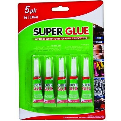 5 x 2g Super Glue Multi Surface Quick Bonding Strong Grip Holding Wood Metal