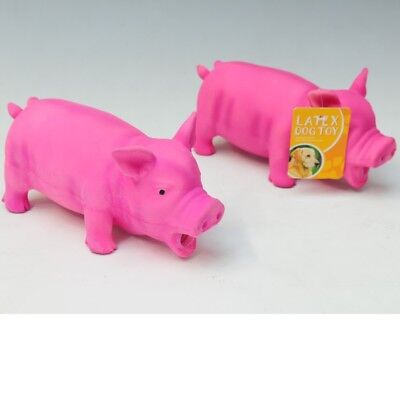"8"" Realistic Grunting Sound Pink Pig Latex Dog Toy Chew Pets Play Safe Novelty"