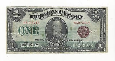 **1923**Dominion of Canada $1 Note, DC-25i (B5923714) Bronze Seal, Group 2